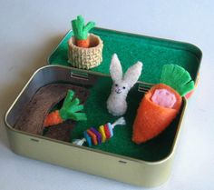 Bunny rabbit garden miniature felt play set in Altoid tin by wishwithme on Etsy https://www.etsy.com/listing/218715045/bunny-rabbit-garden-miniature-felt-play