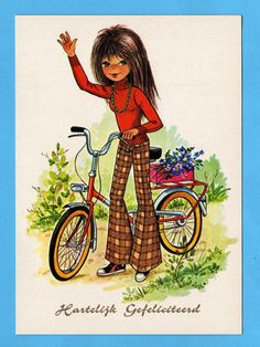 Vintage Postcard Seventies by CuteEyeCatchers on Etsy Mod Girl, Bicycle Painting, Bicycle Print, Old Cards, Retro Girls, Bike Art, Book Images, Cute Cards, Big Eyes