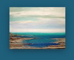 Ocean Seascape Acrylic Abstract Painting on Canvas Original