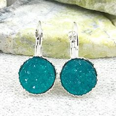Bridesmaid Earrings  Verdigris Druzy Drop Bridesmaid Earrings | Etsy