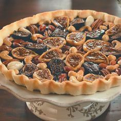 Chocolate Ganache Tart With Glazed Figs and Nuts