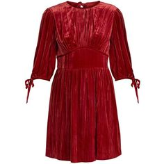 Alexachung Round-neck crushed-velvet mini dress (£230) ❤ liked on Polyvore featuring dresses, red, short red cocktail dress, short cocktail party dresses, red mini dress, night out dresses and party dresses