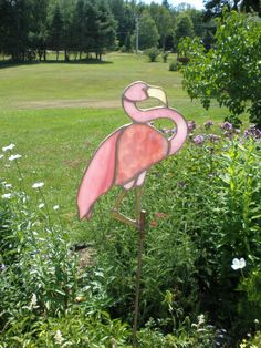 Pink Flaminigo stained glass for garden by Imagesinglassnstone