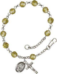 Bliss Mfg Lime Swarovski Crystal 6mm Round Catholic Prayer Rosary Bracelet