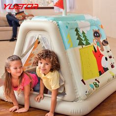 53.53$  Watch now - http://aligf8.worldwells.pw/go.php?t=32759173848 - Brand YUETOR 127*112*116cm inflatable children tent play house with air pump portable kids castle cubby play outdoor toy tents 53.53$