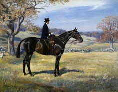 .Lady riding sidesaddle on hunter