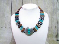 Turquoise and Iron Zebra Jasper Necklace with Pendant - T39 - by daksdesigns on Etsy