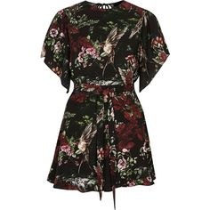 River Island Black floral print flare sleeve tie romper ($100) ❤ liked on Polyvore featuring jumpsuits, rompers, dresses, black, playsuits, rompers / jumpsuits, women, short rompers, floral romper and short romper