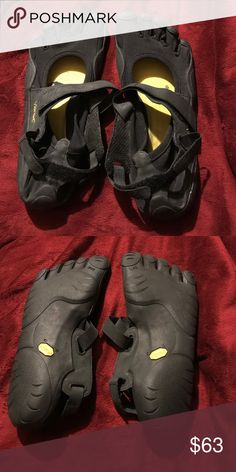 Vibram five finger shoes Black womens Vibram five finger shoes. Size 40(size 10). They run small, about 1 full size smaller.  worn once Vibram Shoes
