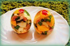 Húsvéti aszpikos tojás | PaleoVital Baked Potato, Cantaloupe, Sushi, Good Food, Fun Food, Food And Drink, Tasty, Snacks, Fruit