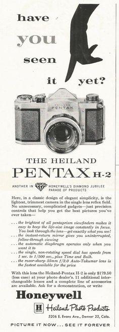 VINTAGE HEILAND PENTAX H-2  CAMERA ORIGINAL AD