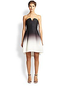 Halston Heritage - Ombre Faille Strapless Dress
