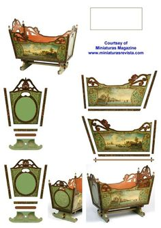 beautiful doll cradle (this would be fun to try! Paper Furniture, Dollhouse Furniture, Barbie Furniture, Paper Doll House, Paper Houses, Miniature Crafts, Miniature Dolls, Paper Art, Paper Crafts
