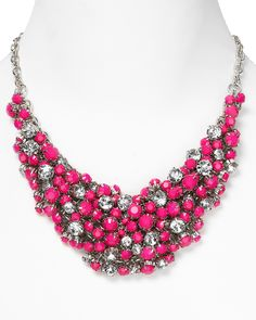 """pink jewelry   Aqau Beaded Pink Neon Cluster Necklace, 18"""""""