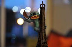 Stitch climbing the Eiffel.