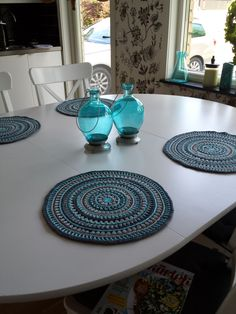 Mandala Style Placemats pattern by Kajsa Hubinette Crochet Gifts, Diy Crochet, Crochet Doilies, Mandala Crochet, Mandala Pattern, Crochet Ideas, Yarn Projects, Crochet Projects, Crochet Placemat Patterns