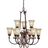 Found it at Wayfair - 9 Light Chandelier with Umber Mist Glass Shades