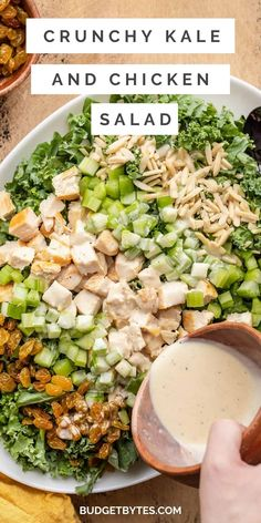 This Crunchy Kale and Chicken Salad is full of flavor, texture, and a tangy-sweet homemade dressing. It's perfect for your weekly meal prep! Kale Chicken Salad, Vegetable Salad, Baby Food Recipes, Diet Recipes, Cooking Recipes, Grain Salad, Rabbit Food, Meal Prep For The Week, Health Eating