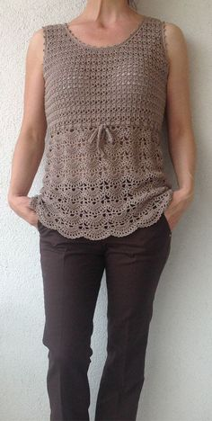 Beige Crochet Top/Women Crochet Top/Crochet Top by Bisakole This gray cotton cardigan is s Diy Crafts Crochet, Easy Crochet, Knit Crochet, Black Crochet Dress, Crochet Cardigan, Cotton Cardigan, Pinterest Crochet, Knitting Patterns, Crochet Patterns