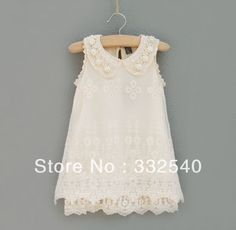 a0444487f0 Kids Summer girls chiffon lace pearl collar sleeveless princess birthday  dress  9.59 Λουλουδάτα Φορέματα