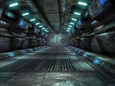 Ship Entrance to Hangar, sci-fi, future, futuristic interior, science fiction