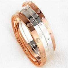 Fashion femmes Lady Cristal plaqué or manchette Bangle Love Heart Charm Bracelet One