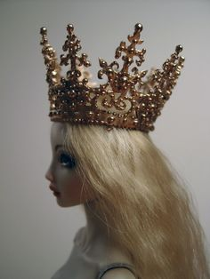 porcelain doll and bronze crown by Marina Bychkova of Enchanted Doll
