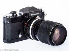Nikkormat FTN No.4620256 Svartlackerad, 24x36mm, med Zoom-Nikkor 3.5-4.5/35-105mm No.2164624 (BA, for F/AIs). Prism finder with one minor dent.