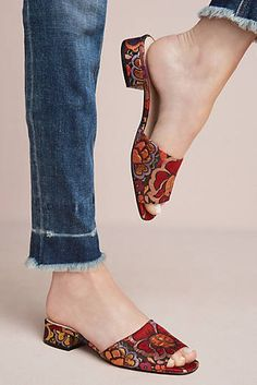 New Anthropologie Shelly's London Brocade Slide Sandals. Slip-on styling. Blue Shoes, New Shoes, Diy Bags Purses, Fall Accessories, Dream Shoes, Sock Shoes, Womens High Heels, Slide Sandals, Anthropologie