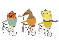 Nursery art and decor. The Bikers by Illustrator Ashley Percival. - Decor for Kids rooms  Nursery Wall Art  Children's Art Prints  Kids Wall Decor  Owl art and Decor 