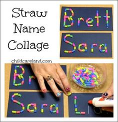 Name Activities: Straw Name Collage Idea For Name And Letter Recognition As Well As Fine Motor Development. Kindergarten Names, Preschool Names, Preschool Crafts, Crafts For Kids, Alphabet Activities, Preschool Activities, Motor Activities, Art Activities For Preschoolers, Name Writing Activities