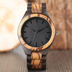 Edmond Series Wooden Watch - Zebrawood & Walnut - FREE Shipping Worldwide