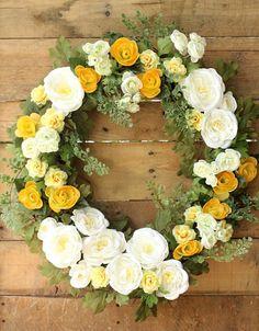 Summer Wreath ~ White and Yellow Wreath ~ Rose Wreath