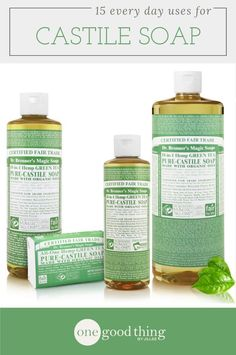 Castile soap is incredibly versatile and can be used to make all kinds of natural health, beauty, and cleaning products. Deep Cleaning Tips, Cleaning Recipes, Cleaning Hacks, Green Cleaning, Cleaning Supplies, Cleaning Solutions, Deck Cleaning, Fun To Be One, All You Need Is