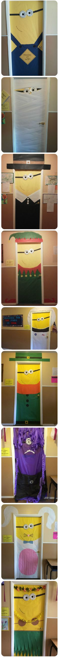 Soooo cute!! Minion through the school year. Sept: minion Oct: mummy Nov: pilgrim Dec: elf Jan: astronaut March: leprechaun April Fool's Day: crazy purple minion! April: Easter bunny May: aloha minion