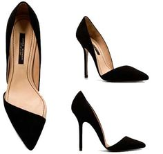 Zara Black pointed toed court shoes
