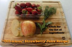 """""""Dill-icious"""" is literally a delicious strawberry juice recipe that includes strawberry, apple, basil, and dill! On-page is a full list of ingredients, which includes the amount of cups of each veggie and fruit in the recipe if you want to make it exactly as it was made originally. Tons of antioxidants and healing minerals in this one! :)  #juicing #juicingrecipes #juicerecipes #juicecleanserecipes"""