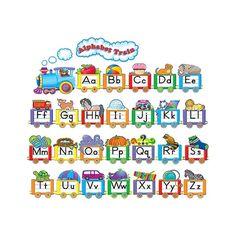 Alphabet Train Bulletin Board Display Set - TCR4421   Teacher Created Resources Alphabet Line, Alphabet Board, Alphabet Charts, Learning The Alphabet, Alphabet Activities, Preschool Learning, Kindergarten Classroom, Teaching, Preschool Decor