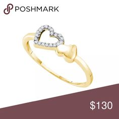10k Yellow Gold Diamond-accent  Ring 1/20 Cttw 10k Yellow Gold Diamond-accent Womens Slender Dainty Small Double Heart Valentines Ring 1/20 Cttw  Product Specification Gold Purity & Color10kt Yellow Gold Diamond Carat1/20 Ct.t.w. Diamond Clarity / ColorI2-I3 / I-J Width2 mm ( .08 inches ) Width of shank1 mm Ring Size7 Gram Weight1.11 grams (approx.) StyleHearts & Love Item Number 51908 Jewelry Rings