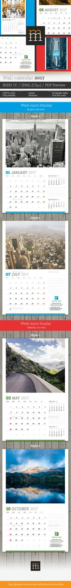 Calendars Vol 2 Calendar design, Print templates and Font logo - Indesign Calendar Template