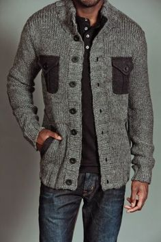 Casual #sweater with great texture over great jeans make this a great casual look for men! #www.nycfitnessfamilfinds.net