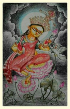 KOJAGARI painting of goddess lakshmi, the Hindu goddess of prosperity, done in traditional bengali style, with colour pencils.