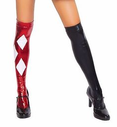 Sexy Harlequin Jester Clown Thigh High Stockings Hosiery by Roma BRAND NEW