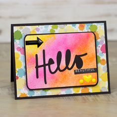 Hello Beautiful - Scrapbook.com - beautiful airbrushed card.