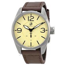 Brooklyn Watch Company Lafayette Tan Dial Brown Leather Swiss Quartz Mens Watch CLA-G