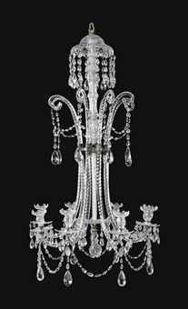 A GEORGE III MOULDED AND CUT GLASS EIGHT LIGHT CHANDELIER  ATTRIBUTED TO MOSES LAFOUNT, CIRCA 1800