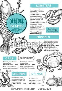Seafood restaurant brochure, menu design. Vector cafe template with hand-drawn graphic. Food flyer.