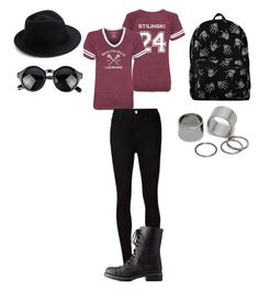 """""""Untitled #95"""" by anaacarolinesiilva ❤ liked on Polyvore featuring AG Adriano Goldschmied, Charlotte Russe, Eugenia Kim and Pieces"""