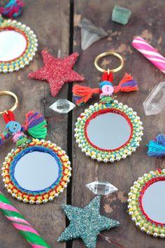 Mirror Keychain Tassel Swag Decoration Jewelry Supply Boho