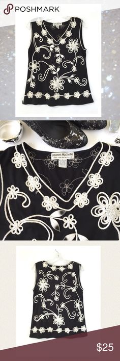 """🆕 Lauren Michelle soutache top. Classy & elegant. Black with white and silver soutache detailing. A perfect top for your holiday parties. Classy and elegant with a bit of sparkle. Excellent pre-loved condition. Poly/rayon/spandex blend. Appx measurements: 🔹bust 37"""" 🔹length 24"""" Lauren Michelle Tops"""